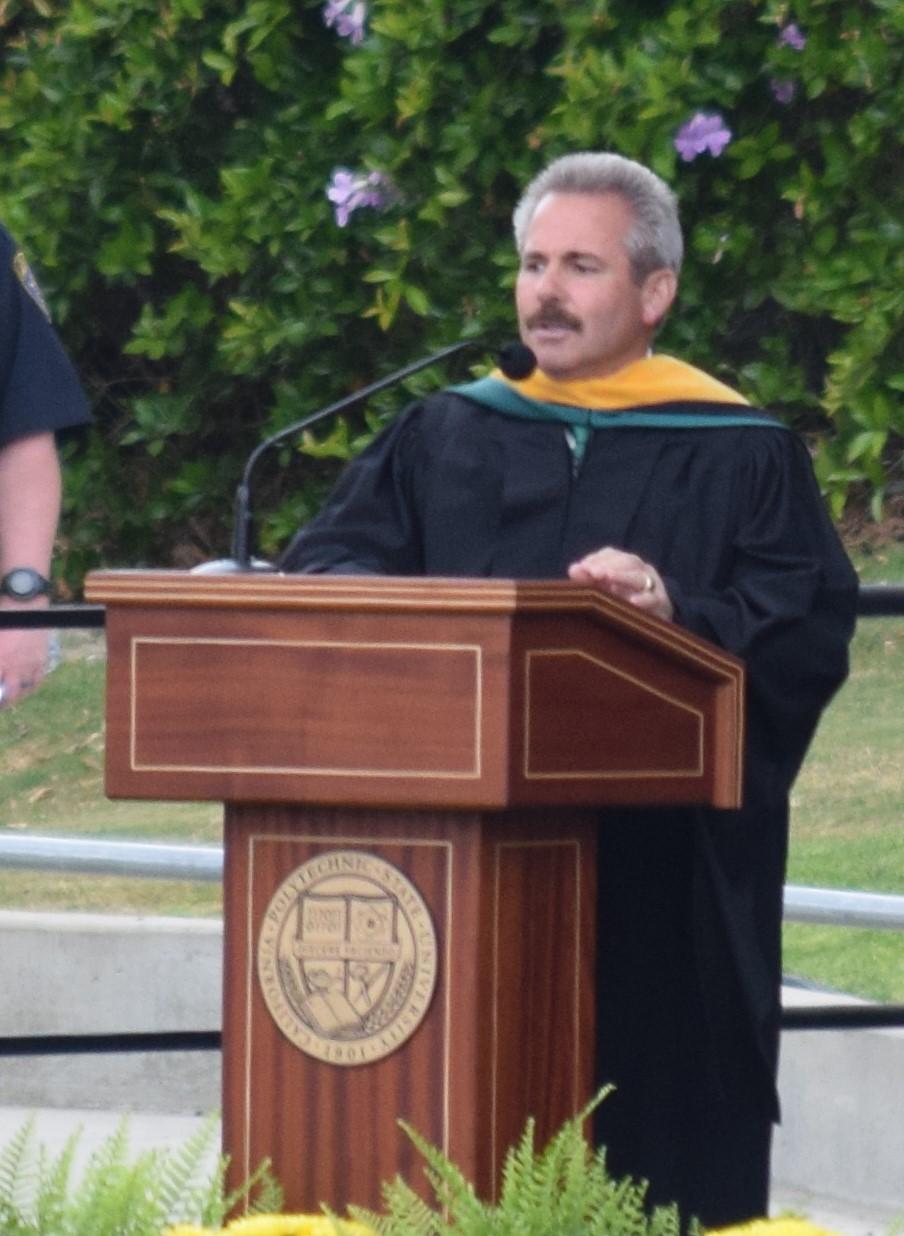 Ed Halpin giving a Cal Poly 2018 graduation speech